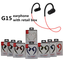 Wholesale green earbuds - G15 earphones Newest G15 bluetooth headphones wireless Sports Running Headsets Ear Hook Earbuds With Mic for iphone samsung with retail box