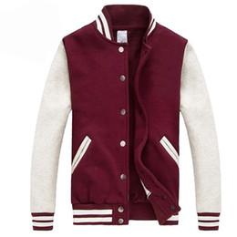 Wholesale Gray Varsity Jacket - 2017 Men Women Bomber Jacket Autumn Fashion Wine Red Baseball Jacket Casual Cotton Varsity Bombers Blouson Homme