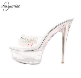 zapatos de diamantes sexy Rebajas Zapatos de mujer Diamante de tacón alto 14 cm Sandalias Zapatillas Crystal Slide Impermeable Antideslizante Fondo Grueso Verano Sandalias Sexy Femeninas