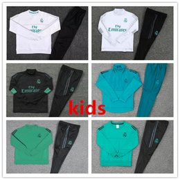 Wholesale youth boys jackets - Best quality 2017 2018 Real Madrid kids Football jacket chandal tracksuit 17 18 RONALDO ASENSIO de foot ISCO youth jacket pants Training sui