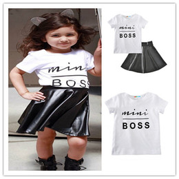 Wholesale Girls Pu Skirt - 2018 Girls Childrens Clothing Set Letters tshirts PU Skirts 2Pcs Set Fashion Summer Girl Kis Skirt Suits Boutique Clothes Enfant Outfits
