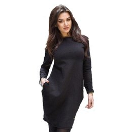 Wholesale Best Club Dresses - Wholesale- High Quality Hot Sale Best Selling Spring and Summer Bottom Fashion Loose Mini Sexy Black Color Long Sleeve O-Neck Dress D18