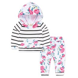 Wholesale Kids Floral Leggings - 0~12Months Baby Clothing Sport Sets Striped Kids Clothes Infant Baby Floral Tops Striped Hoodies Pants Leggings 2pcs KS-065