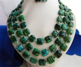 """Wholesale 14mm freshwater pearls - 3Strands 18-20"""" 14MM Malachite Green Baroque Freshwater Pearl Earrings Necklaces"""