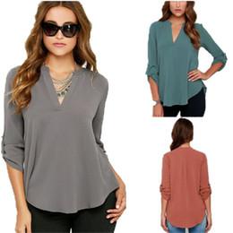 Wholesale Chiffon Women Blouses Long Sleeves - New Hot Selling Women V Neck Long Sleeved Blouse Ruffled Chiffon Shirt Woman Shirt Size S-5XL