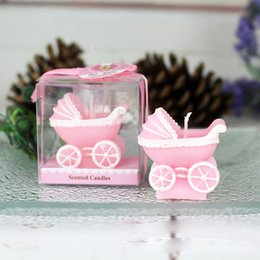 2019 hochzeitsgeschenke andenken kerze Rosa blaue Kinderwagen-Kerze für Hochzeitsfest-Geburtstags-Andenken-Geschenke Babyparty-Partei-Bevorzugung günstig hochzeitsgeschenke andenken kerze