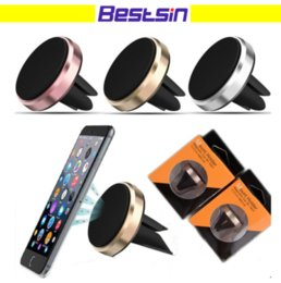 Wholesale universal phone vent mount - Retail Sale Car Mount Air Vent Magnetic for Smart Phone Holder Car windshield Dashboard Phone Metal Stand For Cellphone iPhone8 Samsung S8