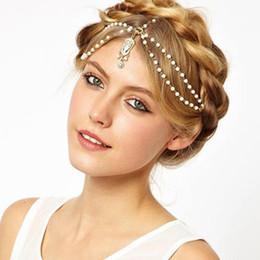Bijoux indiens en Ligne-Mariée Cheveux Décoration Femmes Tassel Bandeaux Bijoux De Cheveux Indien Boho Perlé Tête Pièce De Mariage De Tête Chaîne Bijoux De Cheveux