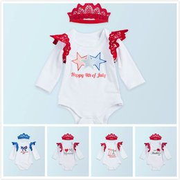 Wholesale Dress Rompers - 5Styles Baby Girls Rompers Red Blue American Flags Fly Lace Sleeve Summer Dresses Clothing Set with Headband Independence Day Legs Warmer