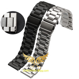Argentina 2016 Nueva Moda 20mm 22mm 23mm 24mm 25mm 26mm de Acero Inoxidable Sólido Enlace Banda de Reloj Pulsera Straight End Black Silver cheap new watch band 26mm Suministro
