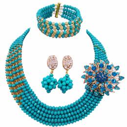 Аква-бисером оптом онлайн-Wholesale 12pcs Aqua Blue Gold Multi Strands Statement Necklace Nigerian  Jewelry Set Crystal African Wedding Sets 5JZ21