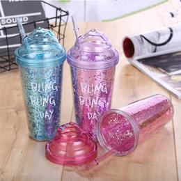 Fresche paglie online-Summer Colorful Cool Cold Ice Fashion Ice Cup Doppio plastica Paglia Tazza Coppia regalo Coppa acqua Succo Bottiglie Bicchieri T2I227