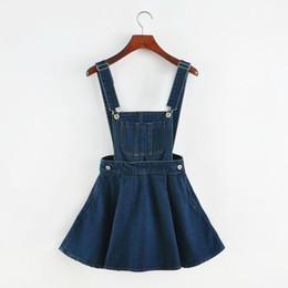 Wholesale ladies denim skirt mini - Wholesale- New 2017 Vintage Sweet Preppy Style Womens takedown braces mini Denim Skirt Ladies Girls A-line Suspender Skirt S M L
