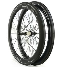 Wholesale U Wheels - 700C 60mm depth Road carbon wheels 25mm width Road bike clincher tubular carbon wheelset U-shape rim UD matte finish white HED Black decals