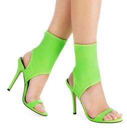 2019 fluoreszierende fersenschuhe 2018 Sommer Fluorescent Green High Heels Sandalen Rom Stil Stretch Stoff Frauen Pumps Slingback Stiletto Heels Frauen Schuhe günstig fluoreszierende fersenschuhe