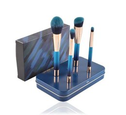 Wholesale Brushed Metal - New PONY EFFECT The Blue Limited MINI MAGNETIC BRUSH SET KIT with Metal Box Beauty Makeup Brushes Blender