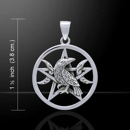 Wholesale Pentacle Charms Wholesale - Raven Moon Pentacle Pendant in . Dark Moon Morrigan Crow Magick Pendant 2017 Vintage Charms for Making Jewelry