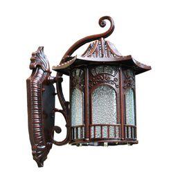 Lámparas de pared tradicionales online-Apliques de pared de torre IP para exteriores Pantalla de vidrio de diamante tradicional Pasillo europeo Lámpara de pared Galería Lámpara de pared impermeable