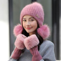 35f47efc3b0 Wool Ski Winter Hat Set Women Set Rabbit Fur Hats Knitting Faux Fox Fur Hat  Pom Poms Beanies Caps Thick Skullies with Gloves