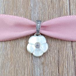 Wholesale Pear Pendant Necklace - Authentic 925 Sterling Silver Beads Pear Flower Pendant Charm Fits European Pandora Style Jewelry Bracelets & Necklace