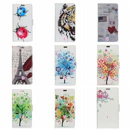 Wholesale play tiger - Eiffel Tower Owl Leather Wallet Case For LG G7,For Moto E5 Play Plus Galaxy A6 Tree Tiger Cat Love Heart ID Card Slot Flip Cover Skins Pouch