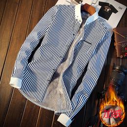 2019 winterhemden design für männer Herren gestreiftes Hemd Winter plus Samthemd Herren Slim Design Herrenhemden XXXL - S günstig winterhemden design für männer