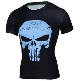 Wholesale shirts body fitting - Newest Summer T-Shirts Short Sleeve Shirts For Male Punisher Printed T-Shirt Tight Clothing For Fit Body Plus Size T-Shirts