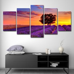 arte de la pared del árbol púrpura Rebajas Impresiones de la lona Pinturas Living Room Wall Art 5 Piezas Purple Lavender Field Tree Sunset Landscape Pictures Home Decor