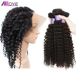 Wholesale 2pcs Bundles Closure - 8A Peruvian Human 2pcs curly hair bundles with 360 Lace Frontal Brazilian Hair Malaysian Virgin Pre-Plucked Full Hand Indian Lace Closure