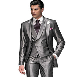best quality suits for men Coupons - High Quality Men Suits For Wedding Prom 3 Pieces (Jacket+Pants+Vest) Slim Fit Men Suit Groomsman Best Man Groom Tuxedos Regular