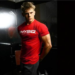 Wholesale White Cotton Fitted Tee Shirts - Mens Bodybuilding Brand Gyms T Shirt Fitness Crossfit Slim Fit Cotton Shirts Short Sleeve Men Fashion Tight Tees Tops Clothing