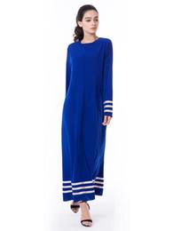 Wholesale Wholesale Islamic Dresses - 2018 7XL Blue Long Maxi Dress Muslim Women Stripe Abaya Dress Islamic Elegant Long Sleeve Kaftan Dress Robes Women DHL free