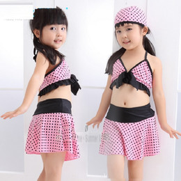 Wholesale bras skirts set - 2018 Polka Dot Baby Girl Bikini Swim Suits 4-Pieces Swimming Clothes Set Skirts Cap Bra Underpant Children Beach Fashion Dress Jumpsuits