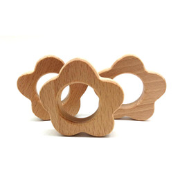 Wholesale handmade wooden bracelets - Wooden Flowers Shape Teethers Rings BPA Free Can Chew Nursing Bracelet Charm Pendant Handmade Wooden Toys DIY