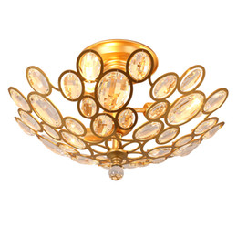 Wholesale Cottage Ceiling Lights - led chandelier light fixtures iron crystal ceiling lights E14 gold ceiling chandeliers light home decor 3 6 9 heads American village style