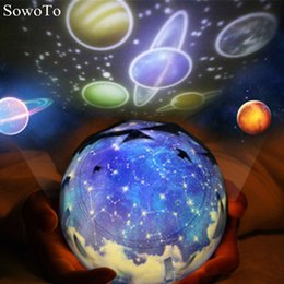 Wholesale Rotary Light Switch - New Year Planet Projector LED Night Light Lamp Colorful Rotary Flashing Starry Sky Kitty Projector Kids Baby Christmas Gift