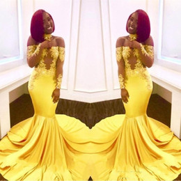 formal winter evening dresses Promo Codes - 2020 Sexy Yellow Black Girls Mermaid Prom Dresses Lace Long Sleeves Backless Satin Floor Length Formal Party Wear Evening Gowns Custom