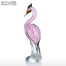 Animaux de verre modernes en Ligne-Tooarts Heron Sculpture En Verre Verre Animal Sculpture Art Moderne Faveur Cadeau Artwork Home Ornement Cadeau pour les Meilleures Frends