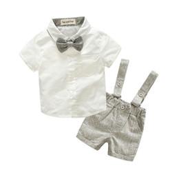 Англия Стиль 2018 Летняя Мода Baby Boy Одежда Джентльмен Футболка Комбинезон Хлопок Детская Одежда Новорожденных Комплект Одежды 2 шт. Наряды от