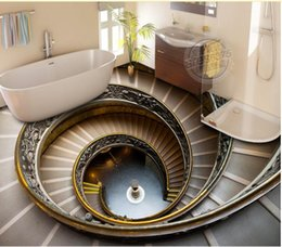 papel de parede ao ar livre Desconto living room wallpaper Spiral staircase 3D floor outdoor three-dimensional painted wall background
