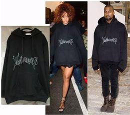 Wholesale tyga sweatshirts - Oversized Hoodies Men Hooded Letter Vetements Kanye West Brand Cotton Sweatshirts Men Swag Tyga Justin Bieber Brand