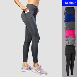 71af8ee7158b3 2018 New Sport Tight Trousers Women Pocket Yoga Running Pants High Quality  Girls Black Sexy Slim Yoga Leggings Female Long Pants