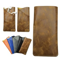 Wholesale Credit Card Power - Universal PU Leather Double Layer Pouch Phone bag For Mobile Phone Power Bank Credit Card Earphone Phone Pouch Case Accessories