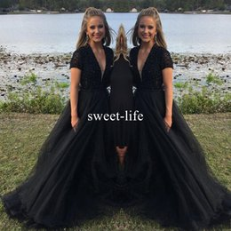Wholesale Little Black Dress Lace Top - Black arabic Evening Dresses 2018 bling Sequins top Sexy V neck modest Prom Dreses plus size Formal Floor Length Custom Made Party Dreses