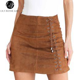 Wholesale Girls Leather Mini Skirts - Lily Rosie Girl Khaki Lace Up Suede Leather Skirts Sexy Short Mini Skirt Autumn Winter 2017 Women Ladies Black Zipper Skirts