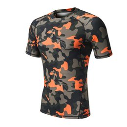 Wholesale Men Mix Color Shirt - Camo Men Compression Running T Shirts Yoga Tights Fitness Running Cycling Skin Base Layers Tops Short Sleeve Male Gym T Shirts