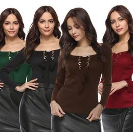 Wholesale u s t shirts - Women U Neck Long Sleeve Bandage Shirts Solid Lace Up Corn Belt T-Shirt 4 Colors LJJO4218