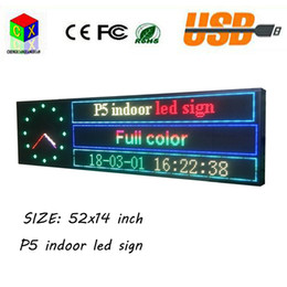 Wholesale Video Sign - NEW SMD P5 52''x14 '' Full Color Indoor LED signs Scrolling Message support texts, pictures&video Display for Shop window