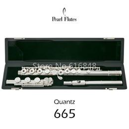 flöten fall Rabatt Pearl Quantz PF-665 17 Tasten Offene Löcher Flöte Silber Oberfläche Cupronickel Flöte C Stimmung E Key Flöte Musikinstrument mit Etui
