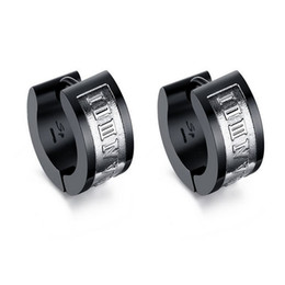 Wholesale Korea Stainless Steel Jewelry - whole saleNew Design Roman Numerals Hoop Earrings Korea Fashion Ear Buckle Jewelry Gold Blue Color Stainless Steel Accessories Men Earring